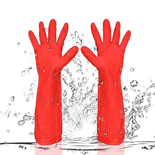 BESLIME Guanti Lunghi in Lattice - Guanti Cucina Impermeabili Antiscivolo, Guanti per la pulizia, riutilizzabili, lunghi, in gomma, per cucina, pulizie domestiche, lavare i piatti,3pcs