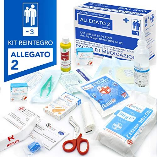 AIESI® kit di reintegro ALLEGATO 2 pacco medicazione per cassetta pronto soccorso aziende meno 3 dipendenti # Conforme DM388/DL81 # Made in Italy
