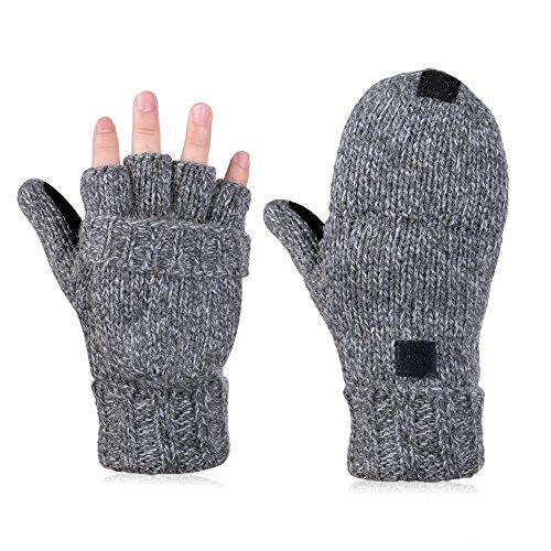 VBIGER Guanti invernali Guanti in lana lavorati a maglia unisex Guanti mezze dita