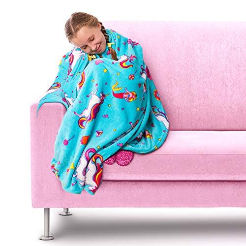 GirlZone Regalo Ragazza -Coperta Pile Unicorno per Bambina, Copertina Kawaii Morbida e Calda - Azzurra Ideale per la Camera da Letto Regali Bimba