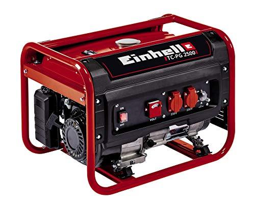 Einhell Generatore (benzina) TC-PG 2500, 4 kW, max. 2400 W, due attacchi da 230 V, serbatoio 15 Litri, voltmetro, interruttore di sovraccarico, fusibile basso olio, AVR, avviamento a strappo