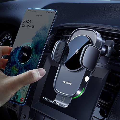 Auckly Qi 15W Caricatore Wireless Auto,Auto-Bloccaggio Supporto Telefono Auto, RicaricaWirelessAuto per iPhone 12 Pro Max Mini 11/11 Pro/Xs Max/XR/8,Supporto Smartphone per Galaxy S20/S10/S9 e Altri