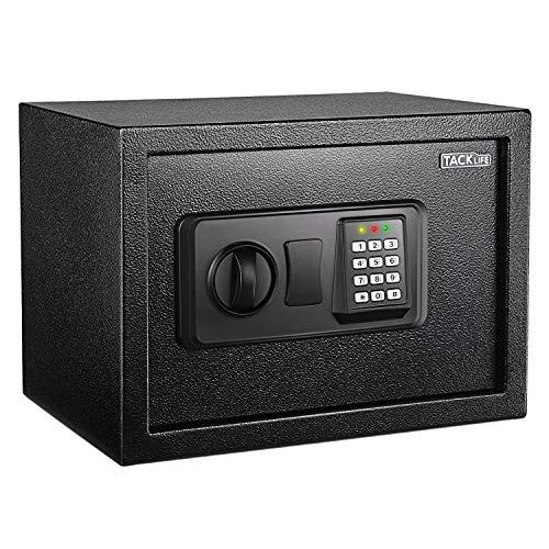 TACKLIFE Cassaforte a Muro,Digital Lock Box,Cassetta di Sicurezza a Chiave e Pulsante,solida struttura in acciaio, Nero, 35*25*25cm HES25A