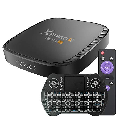 TV Box Android 10.0 4GB RAM 64GB ROM Set Top Box Smart TV Box Allwinner H616 1080P Ultra HD 4K 6K HDR WiFi 2.4G 5.8GHz BT 5.0 Android TV Box con Mini Tastiera Senza Fili Retro Illuminata