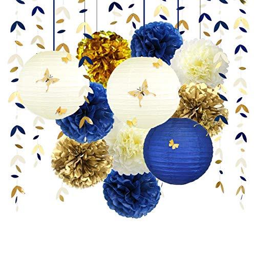 Oro Blu Decorazioni di Festa, Lanterne di Fiori Pom Pom con Adesivi Farfalla 3D Ghirlanda di Foglie Banner per Matrimonio Fidanzamento Nuziale Doccia Addio al Nubilato Decorazioni per Feste