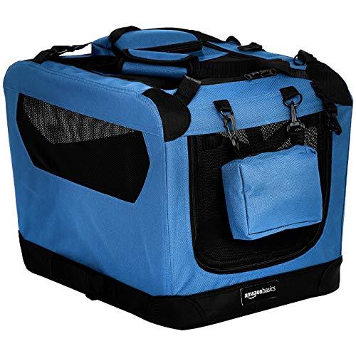 Amazon Basics - Trasportino morbido pieghevole per animali domestici, alta qualità, 53 cm, Blu