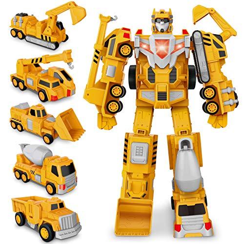 Costruzione Assembla Giocattolo, Transformers Robot Auto Giocattoli Camion, Veicoli da Gioco Tirare Indietro per Bambini, Discarica, Gru, Escavatore, Bulldozer per 3 4 5 6 Anni Ragazzo Ragazze