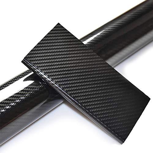Speyang Pellicola Adesiva Fibra di Carbonio, 6D Pellicola Adesiva Carbonio, Rotolo Fibra di Carbonio,1520 x 300mm Adesivi Wrapping Sticker per Auto e Moto Fai-da-Te, Interno/Esterno, Nero