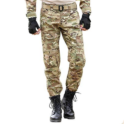 BWBIKE Pantaloni Tattici Militari da Uomo con Ginocchiere Pantaloni da Lavoro da Combattimento (34 (Vita: 34'-35'), CP)
