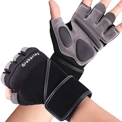 Grebarley Fitness Gloves Sollevamento Pesi, Protezione Totale del Palmo, Guanti da Allenamento Traspiranti per Uomo e Donna (Nero, M)