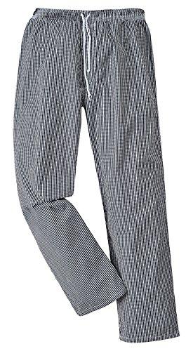 Portwest C079CKRM Pantaloni Bromley da Chef, Bianco/Nero, Medium