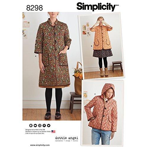 semplicità Modello 8298a (XS-S-M-L-XL) da Donna e Giacca, Bianco