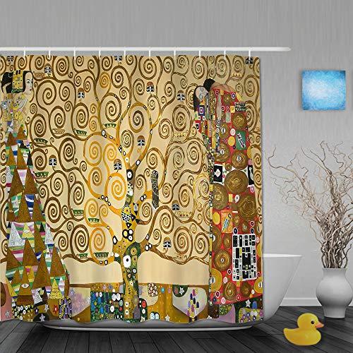 SUHOM Doccia Tenda,Dipinti di Gustav Klimt,Bagno Decoro,Ganci Inclusi,180 * 180