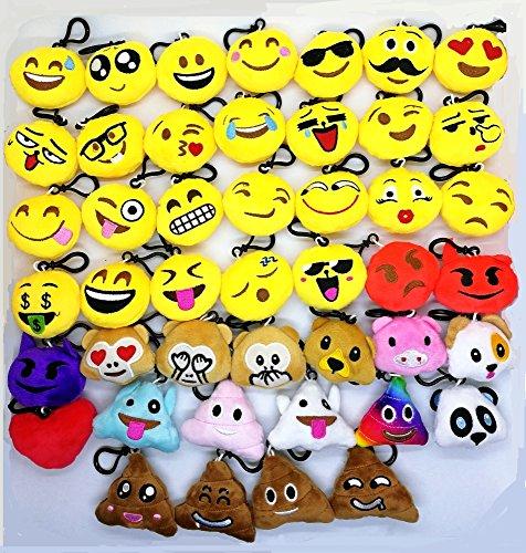CHSYOO 45pcs Mini Emoji Portachiavi Diametro 5 cm Smiley Peluche Stile Cuscino Pendente, Regalo per Il Compleanno Bambini Festa Baby Shower Garden Party