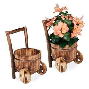 carriole in legno portafiori